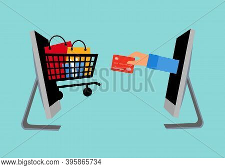 Shopping Online And Payment Online Vector Illustration. Internet Payment, Protection Money Transfer,