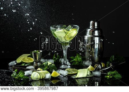 Infused Water With Cucumber, Lime And Mint For Diet Healthy Eating And Weight Loss. Fresh Drink With