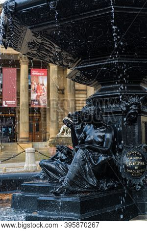 Fountain in front of Liverpool Walker Art Gallery in England in United Kingdom