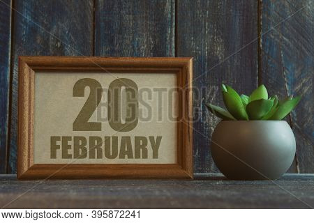 February 20th. Day 20 Of Month, Date In Frame Next To Succulent On Wooden Background Winter Month, D