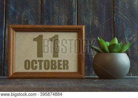 October 11th. Day 11 Of Month, Date In Frame Next To Succulent On Wooden Background Autumn Month, Da