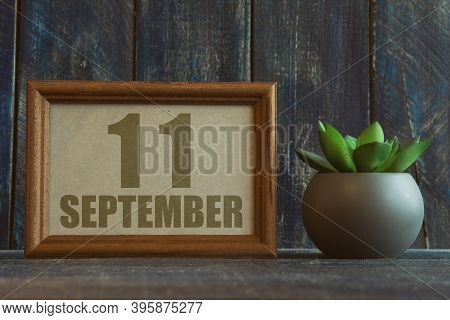 September 11th. Day 11 Of Month, Date In Frame Next To Succulent On Wooden Background Autumn Month,