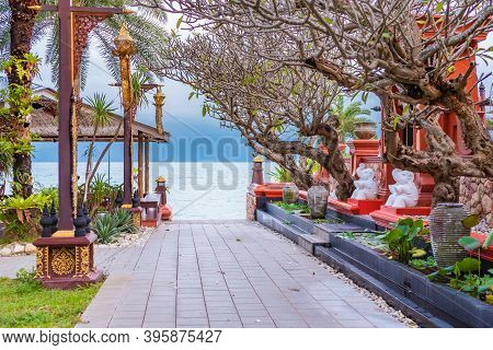 Traditional Temple Architecture On Koh Samui In Thailand, Southeast Asian Culture, Stone Statues Of