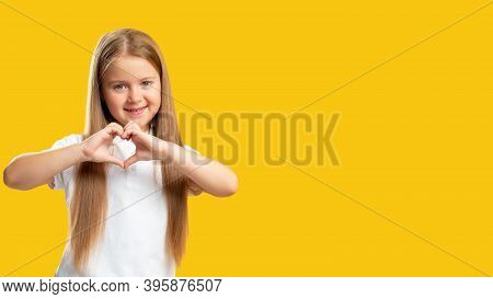 Supportive Kid. Love Sign. Care Trust. Sympathy Appreciation. Cute Friendly Cheerful Small Girl In W