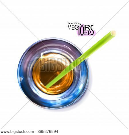 Water or transparent alcohol, glass, top view. Refracted, drinking straw. Object with light effects isolated on white background. Vector illustration Eps 10.