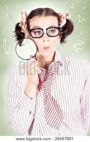Nerdy School Girl Student With Education Question