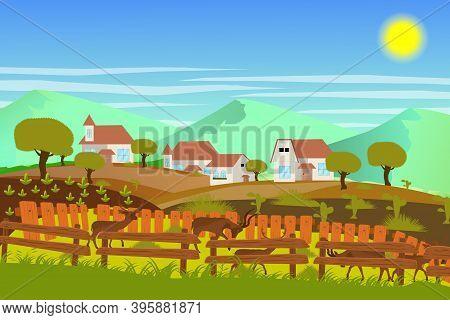 Landscape Beautyfull  Village Under Mountain Vector Illustration