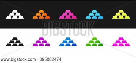 Set Gold Bars Icon Isolated On Black And White Background. Banking Business Concept. Vector Illustra