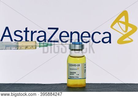 Mallorca/spain- November 21 2020: Astrazeneca Research Coronavirus (covid 19) Vaccine. Row Of Vaccin