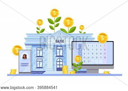 Online Bank And Digital Money Finance Vector Concept With Building Facade, Smartphone, Growing Coins
