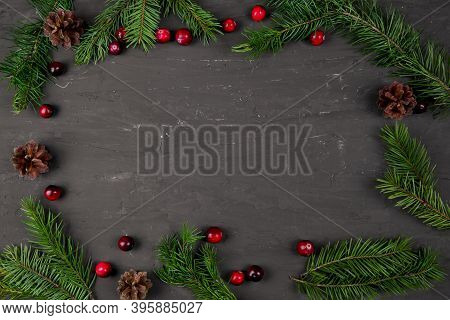 Christmas Frame, Green Fir Tree Branches And Red Cranberries, Top View. Copy Space, Free Space For T