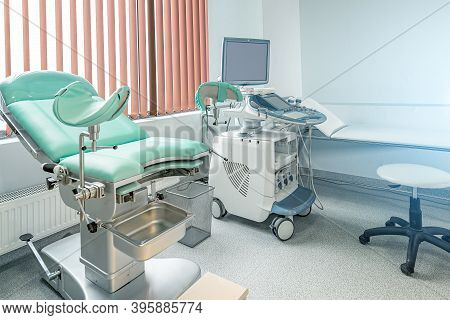 Gynecological Chair In Gynecological Room. Modern Gynecological Office Interior