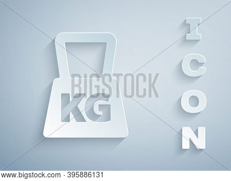 Paper Cut Weight Icon Isolated On Grey Background. Kilogram Weight Block For Weight Lifting And Scal