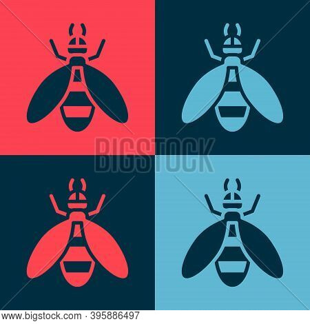 Pop Art Bee Icon Isolated On Color Background. Sweet Natural Food. Honeybee Or Apis With Wings Symbo