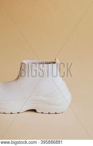 White knitted high top slip-on sneakers mockup