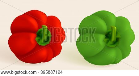 Slice Pepper, Hungarian Pepper, Realistic Sweet Papper. Capsicum Habanero Colorful Paprika Isolated
