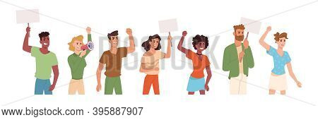 People On Protest Holding Placards And Banner Signs In Hands, Flat Cartoon Icons. Angry Protesters Y