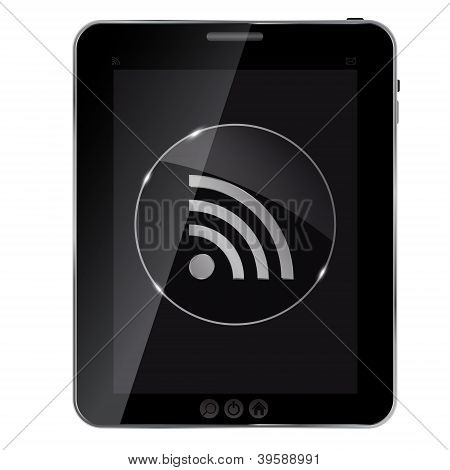 Glass rss button icon on abstract tablet. Vector illustration..