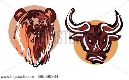 Hand Drawn Bear And Bull Heads In Circles Isolated On White Background As A Symbol Of Bullish And Be