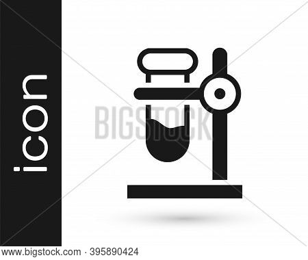 Black Glass Test Tube Flask On Stand Icon Isolated On White Background. Laboratory Equipment. Vector