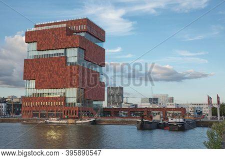 The Museum Aan De Stroom Located Along The River Scheldt In The Eilandje District Of Antwerp, Belgiu