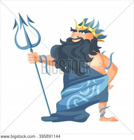 Ancient Greek God Of Sea And Waters Poseidon, Vector Man In Crown With Gold Trident Religion And Myt