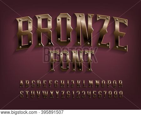 Bronze Alphabet Font. Beveled Metallic Letters And Numbers With Screws. Stock Vector Typescript For