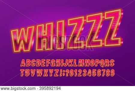 Whiz Alphabet Font. Neon Light Letters And Numbers. Stock Vector Typescript For Your Typography Desi