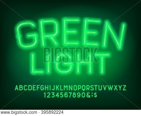 Green Light Alphabet Font. Neon Light Uppercase Letters And Numbers. Stock Vector Typescript For You
