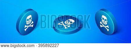 Isometric Skull On Crossbones Icon Isolated On Blue Background. Happy Halloween Party. Blue Circle B