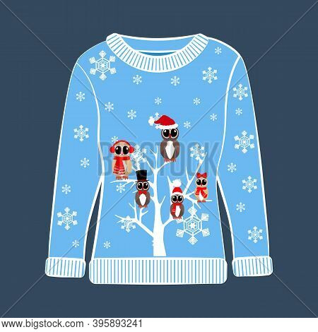 Christmas Party Ugly Sweater With Owl Vector Illustration