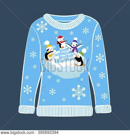 Christmas Party Ugly Sweater With Penguin Vector Illustration