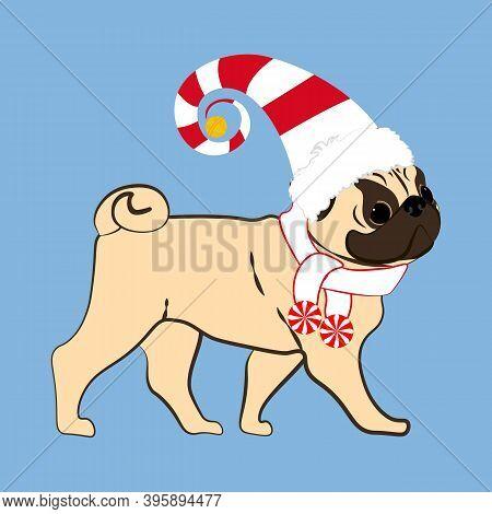 Pug Dog In Christmas Costume Vector Illustration