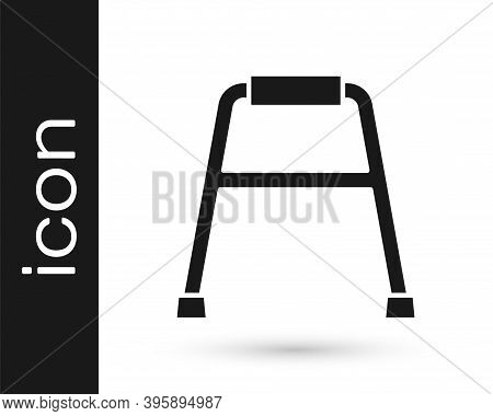 Black Walker For Disabled Person Icon Isolated On White Background. Vector