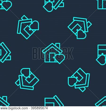 Green Line House With Heart Shape Icon Isolated Seamless Pattern On Blue Background. Love Home Symbo