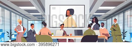 Businesspeople Having Online Conference Mix Race Business People Discussing With Businesswoman Durin