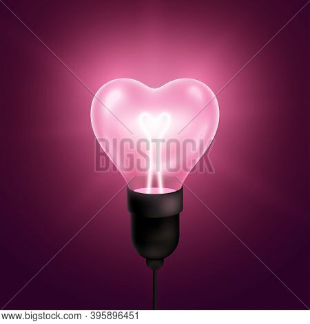 Pink Light Bulb Heart Shaped With Wire And Filament. Vector Illustration. Happy Valentines Day Techn