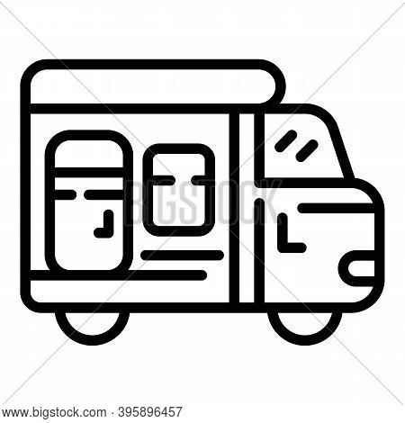 Motorhome Trailer Icon. Outline Motorhome Trailer Vector Icon For Web Design Isolated On White Backg
