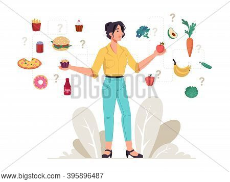 Healthy And Unhealthy Food Woman Choice Between Fastfood Snacks And Fresh Vegetables And Fruits. Vec