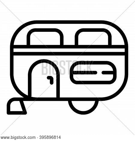 Family Motorhome Trailer Icon. Outline Family Motorhome Trailer Vector Icon For Web Design Isolated