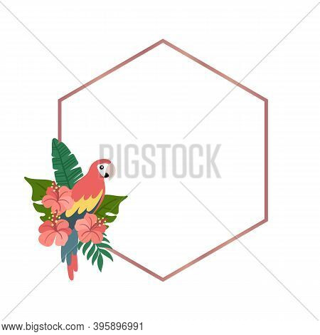 Rhombus Frame With Ara Parrot And Tropical Leaves, Hibiscus Flowers. Beautiful Print For Home Decor,