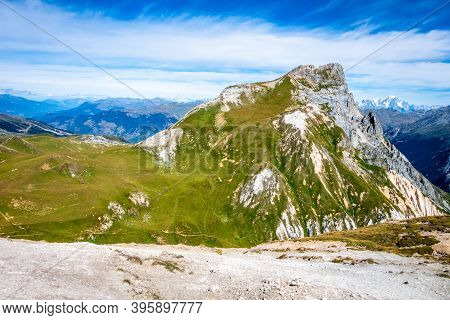 Mountain Landscape View From The Petit Mont Blanc Summit In Pralognan La Vanoise, French Alps