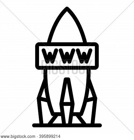Rocket Internet Speed Icon. Outline Rocket Internet Speed Vector Icon For Web Design Isolated On Whi