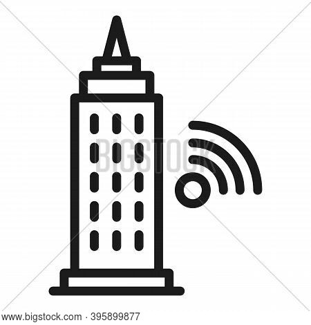 Wifi Tower Icon. Outline Wifi Tower Vector Icon For Web Design Isolated On White Background