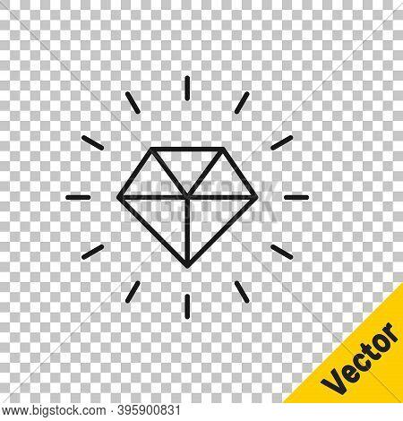 Black Line Diamond Icon Isolated On Transparent Background. Jewelry Symbol. Gem Stone. Vector