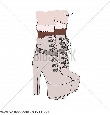 Bootie Beige. Shoes - One Line Drawing. Vector Illustration Continuous Line Drawing.