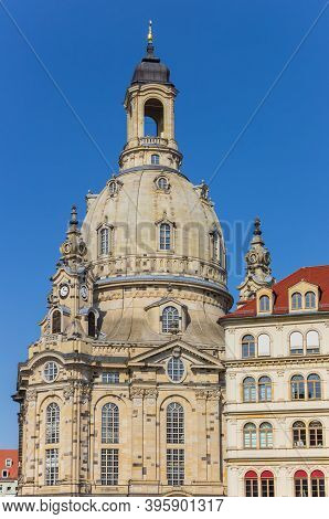 Dome Of The Historic Frauenkirche Church In Dresden, Germany