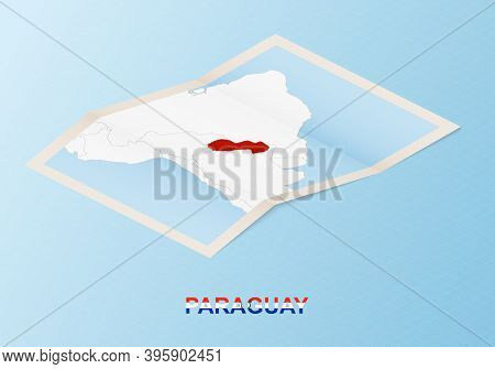 Folded Paper Map Of Paraguay With Neighboring Countries In Isometric Style On Blue Vector Background