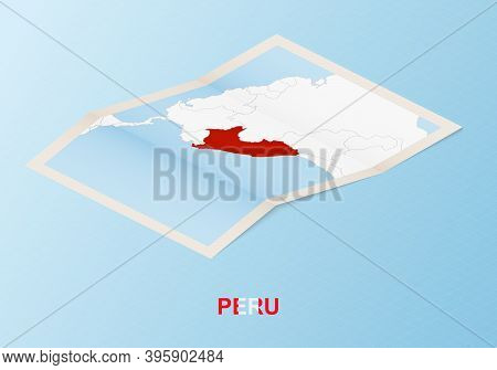 Folded Paper Map Of Peru With Neighboring Countries In Isometric Style On Blue Vector Background.