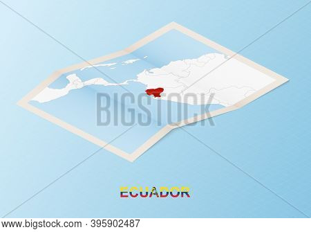 Folded Paper Map Of Ecuador With Neighboring Countries In Isometric Style On Blue Vector Background.